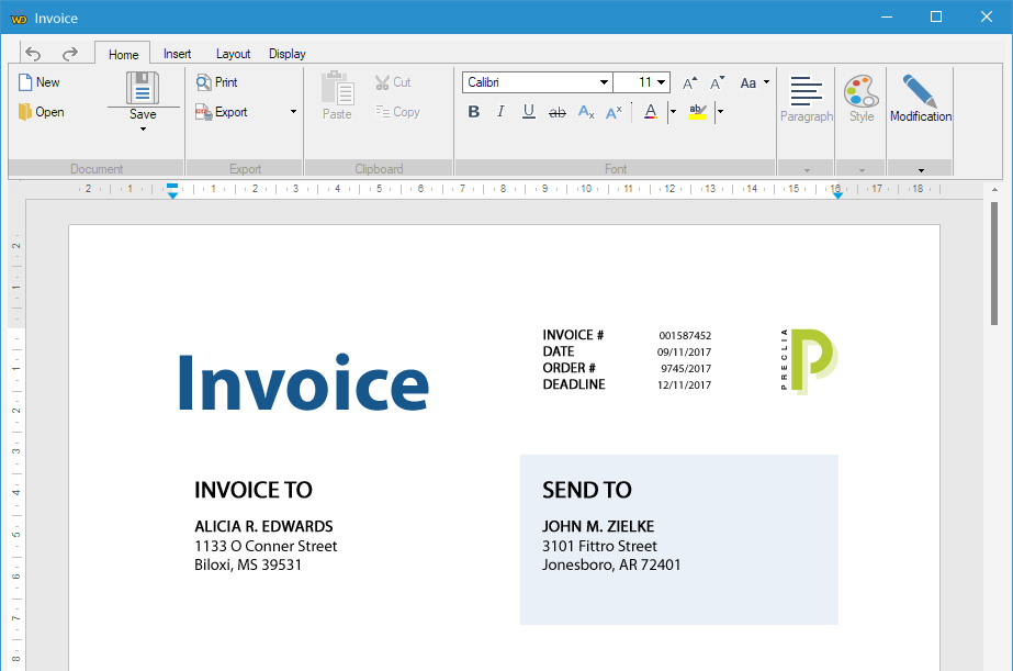 Here, the shipping address and the invoicing address have been typed in floating text areas