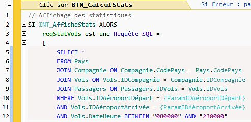SQL code directly in a button!