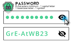 A click on the eye allows you to see the password typed (if nobody is watching you!)