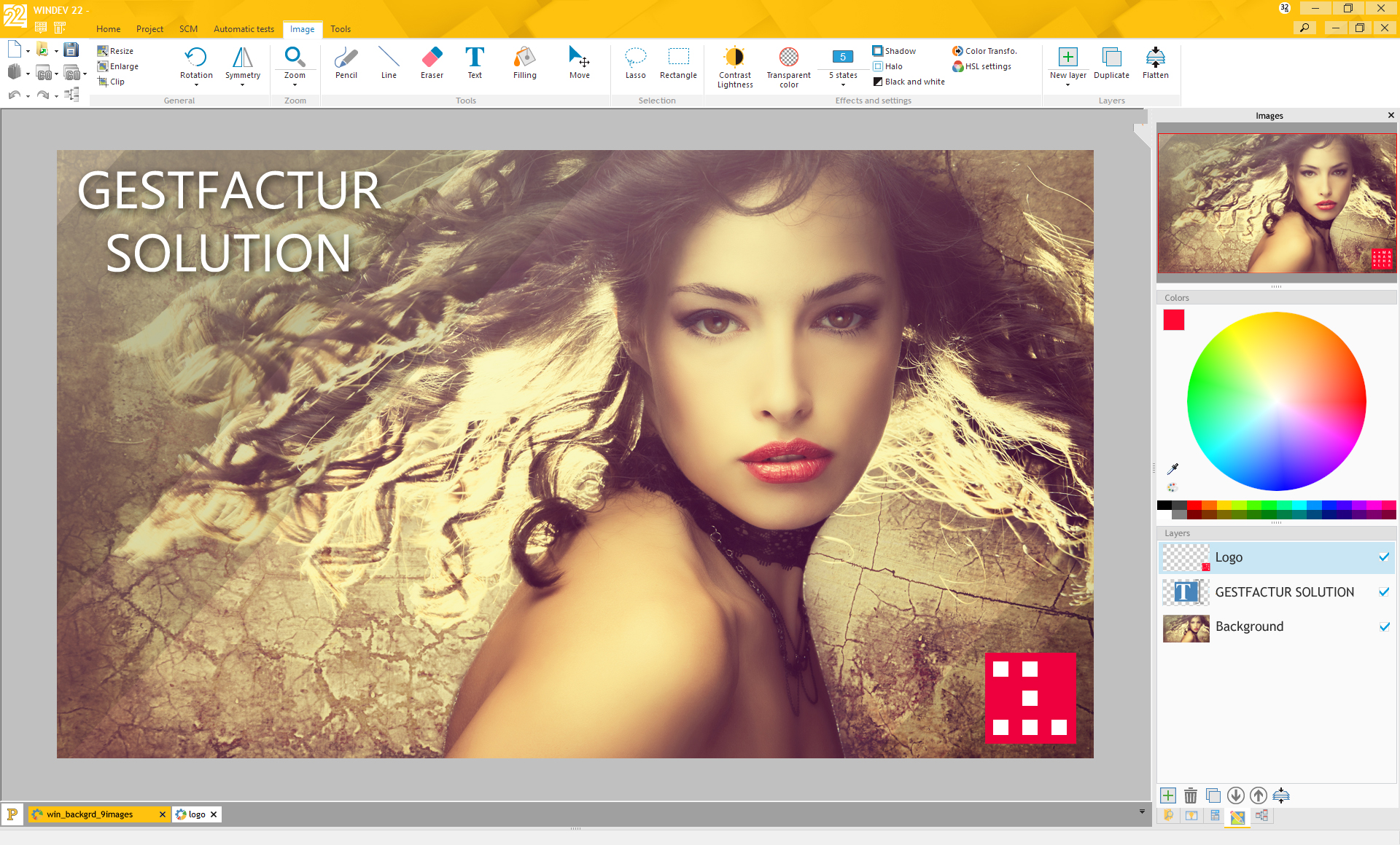 The image editor of version 22