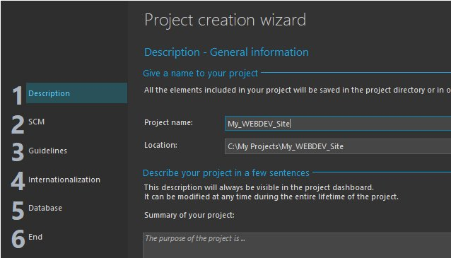 Project creation wizard - General information