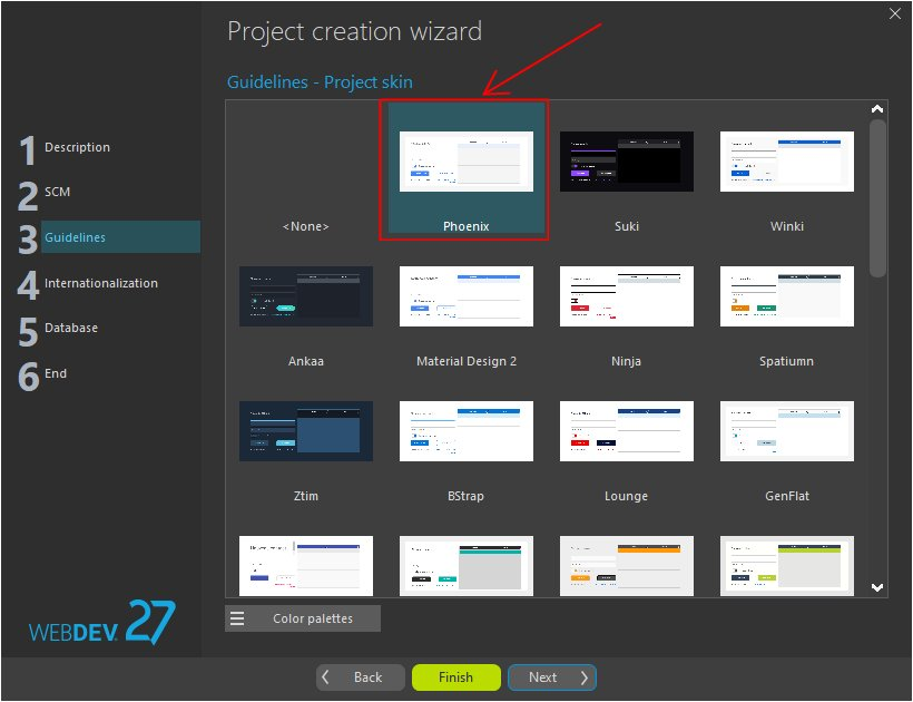 Project creation wizard - Choosing the skin template
