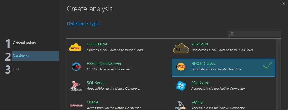 Analysis creation wizard - Type of database