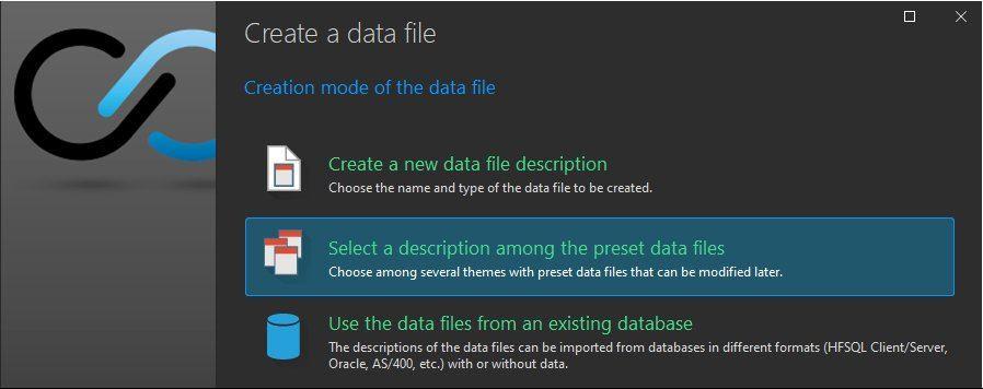 Data file creation wizard