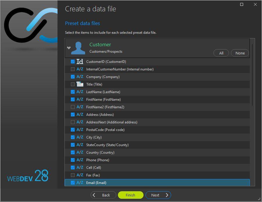 Preset data file creation wizard