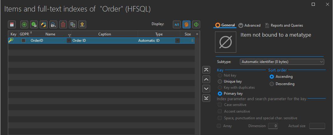 Description window of items of a data file