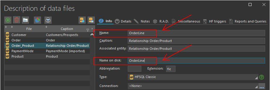 Modifying the data file name