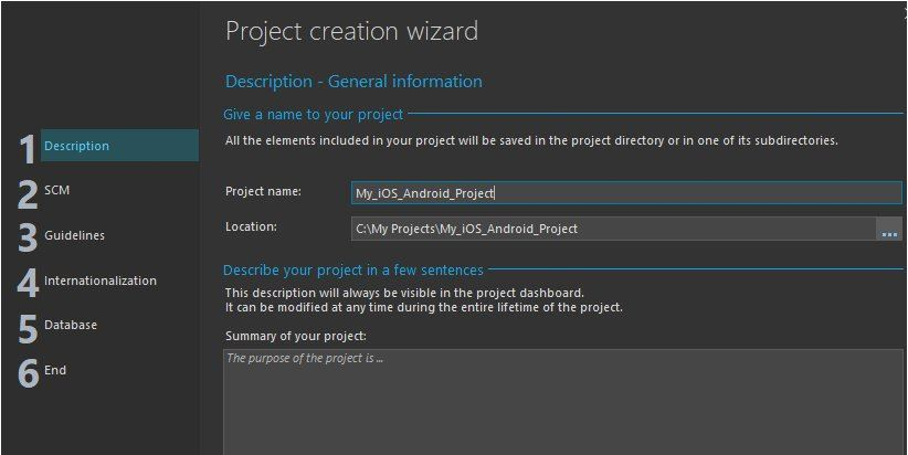 Project creation wizard