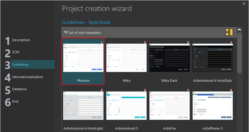 Project creation wizard - Style book
