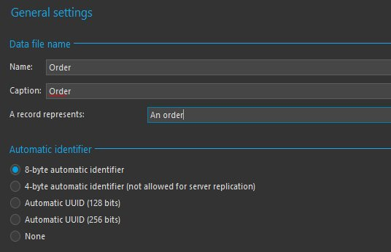 Data file creation wizard - General settings