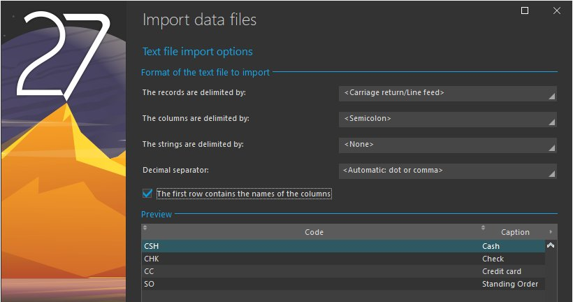 Text file import options