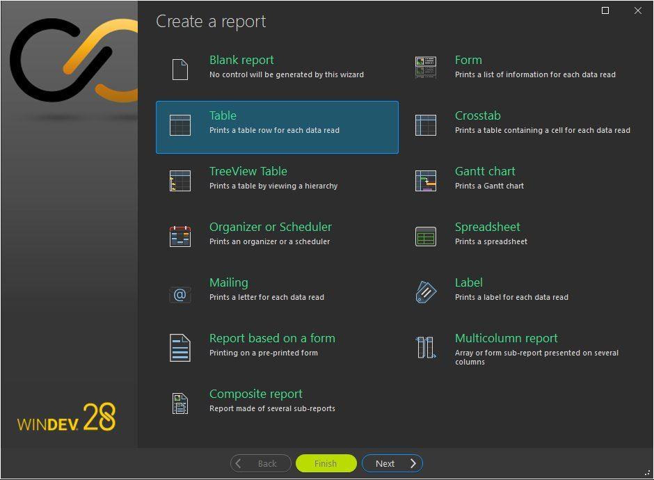 Report creation wizard - Type of report