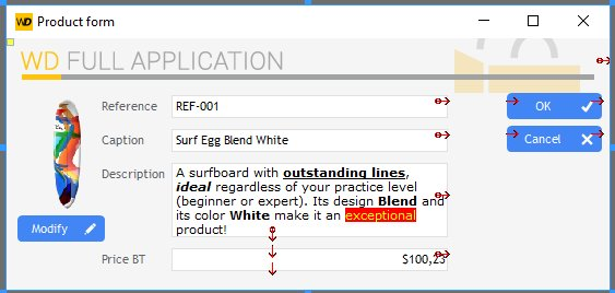 Interface of the form window in the editor