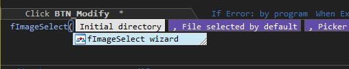 Function wizard in the code editor