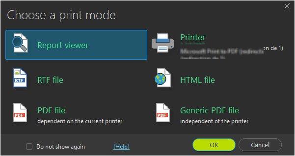 Choose print mode