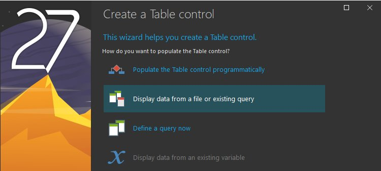Table control creation wizard