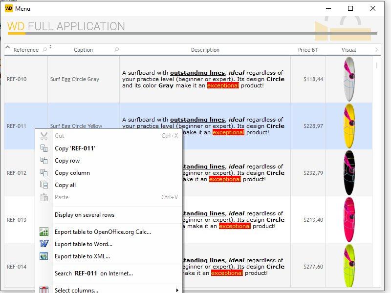 Control context menu