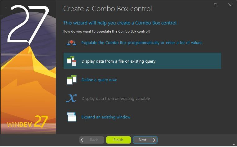 Combo Box control creation assistant