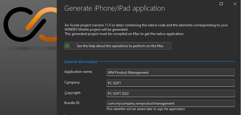 iOS application generation wizard