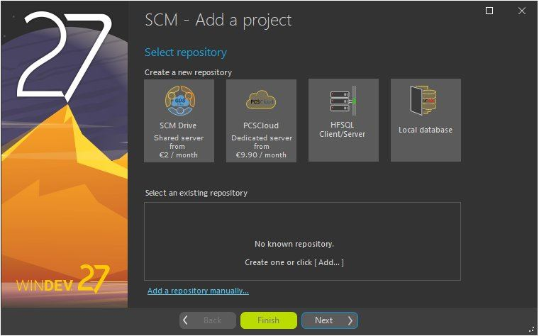 Wizard for adding a project to the SCM