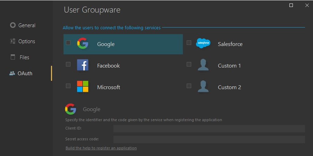 User groupware settings
