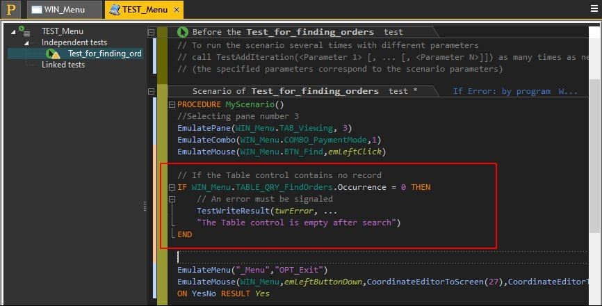 Modifying the WLanguage code of an automatic test