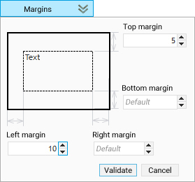 The window for configuring margins in the