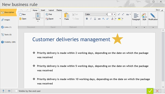 Example of a Business Rule on delivery management