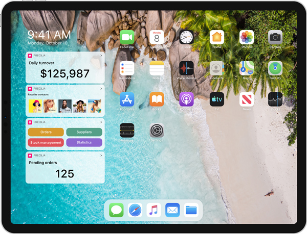 Widgets on an iPad