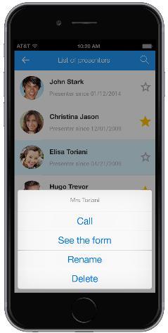 Popup menu on iPhone
